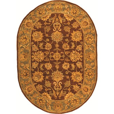 Cranmore Gold & Brown Area Rug Rug Size: Oval 76 x 96
