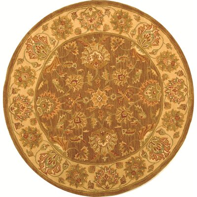 Cranmore Brown/Ivory Area Rug Rug Size: Round 8'