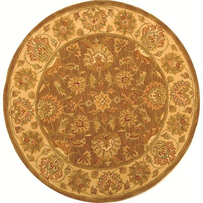 Cranmore Brown/Ivory Area Rug Rug Size: Round 6'