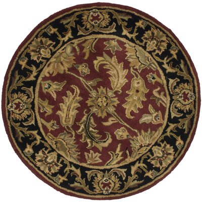Cranmore Red Area Rug Rug Size: Round 36
