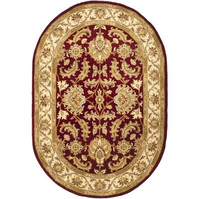 Cranmore Red/Ivory Floral Area Rug Rug Size: Oval 4'6