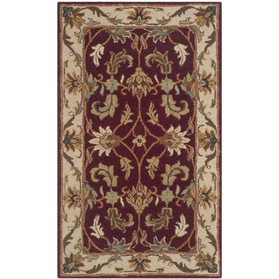Cranmore Red/Ivory Floral Area Rug Rug Size: 2 x 3