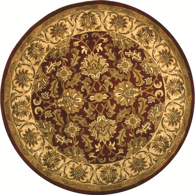 Cranmore Red/Ivory Floral Area Rug Rug Size: Round 8