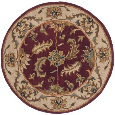 Cranmore Red/Ivory Floral Area Rug Rug Size: Round 36