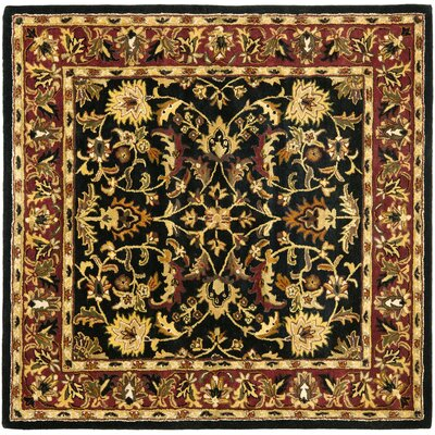 Cranmore Black/Red Area Rug Rug Size: Square 4