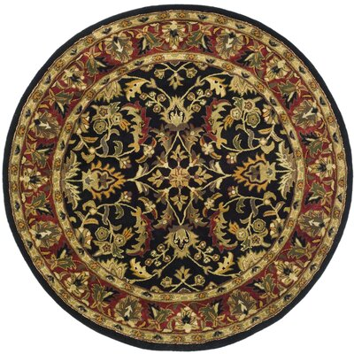 Cranmore Black/Red Area Rug Rug Size: Round 6