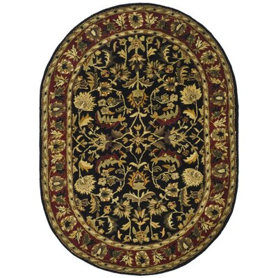 Cranmore Black/Red Area Rug Rug Size: Oval 76 x 96