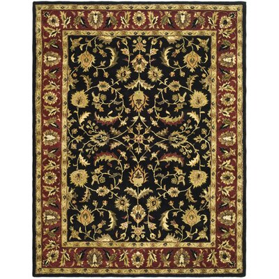 Cranmore Black/Red Area Rug Rug Size: 11 x 17