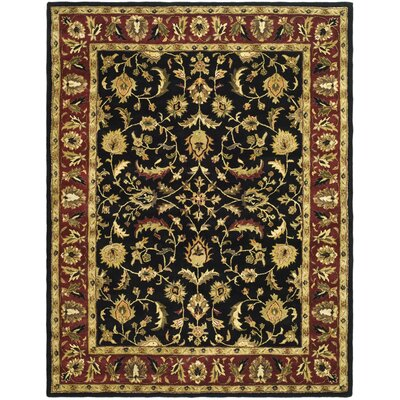 Cranmore Black/Red Area Rug Rug Size: 4 x 6