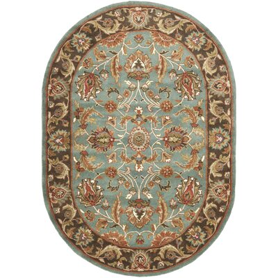 Cranmore Hand-Tufted Blue/Brown Area Rug Rug Size: Oval 76 x 96