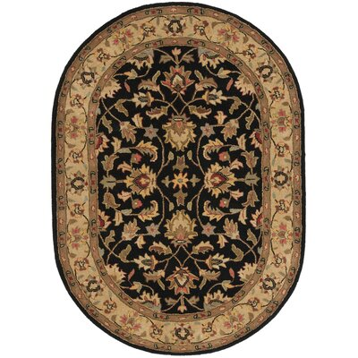 Cranmore Black/Gold Area Rug Rug Size: Oval 76 x 96