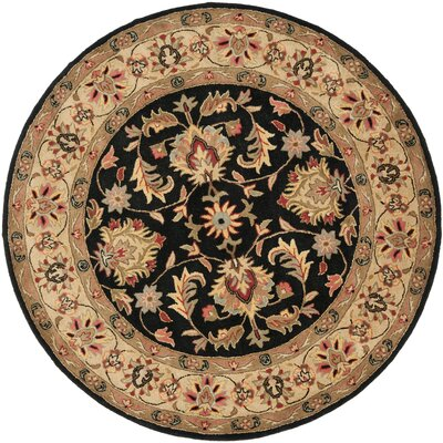 Cranmore Black/Gold Area Rug Rug Size: Round 6