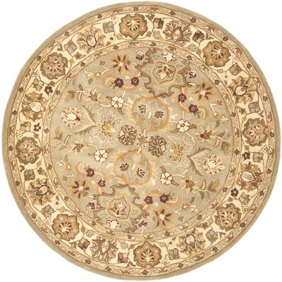 Cranmore Light Green & Beige Area Rug Rug Size: Round 6