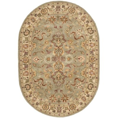 Cranmore Light Green & Beige Area Rug Rug Size: Oval 76 x 96