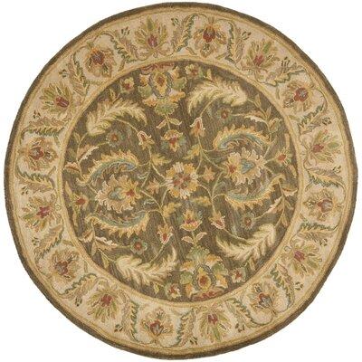 Cranmore Green / Beige Oriental Rug Rug Size: Round 6
