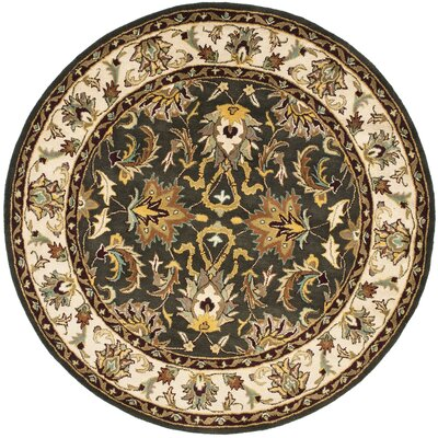Cranmore Black/Ivory Area Rug Rug Size: Round 6