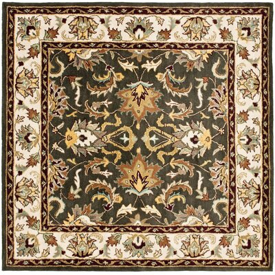 Cranmore Black/Ivory Area Rug Rug Size: Square 6