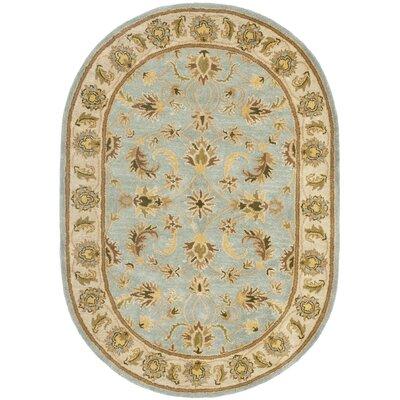 Cranmore Light Blue/Beige Area Rug Rug Size: Oval 46 x 66