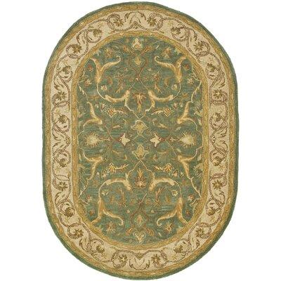 Cranmore Blue / Beige Oriental Rug Rug Size: Oval 46 x 66