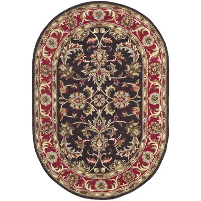 Cranmore Chocolate/Red Area Rug Rug Size: Oval 46 x 66