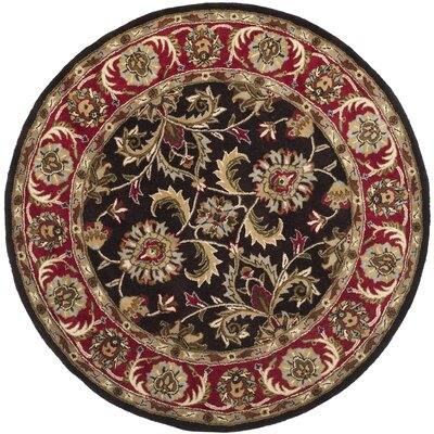 Cranmore Chocolate/Red Area Rug Rug Size: Round 6