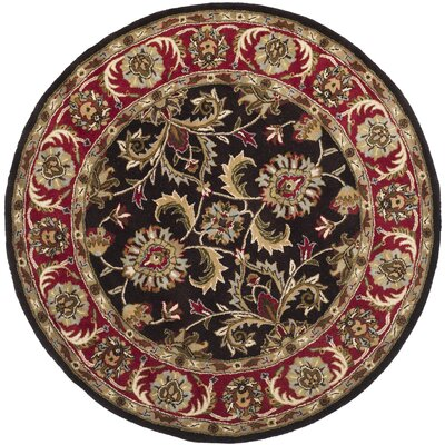 Cranmore Chocolate/Red Area Rug Rug Size: Round 8