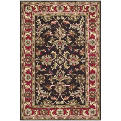 Cranmore Chocolate/Red Area Rug Rug Size: 4 x 6