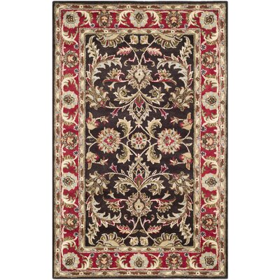 Cranmore Chocolate/Red Area Rug Rug Size: 5 x 8