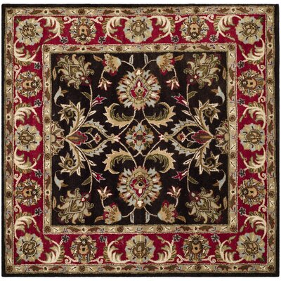 Cranmore Chocolate/Red Area Rug Rug Size: Square 6