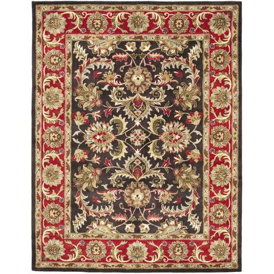 Cranmore Chocolate/Red Area Rug Rug Size: 76 x 96