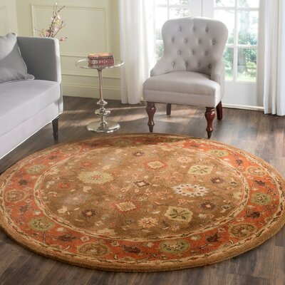 Cranmore Moss/Rust Area Rug Rug Size: Round 6