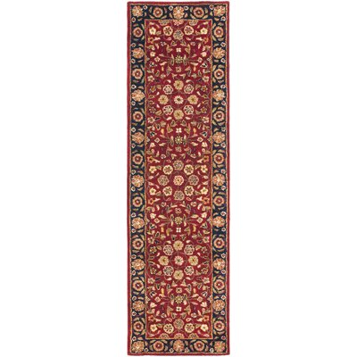 Cranmore Red/Black Floral Area Rug Rug Size: Runner 23 x 18