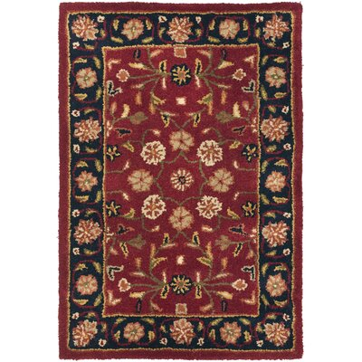 Cranmore Red/Black Floral Area Rug Rug Size: Rectangle 2 x 3