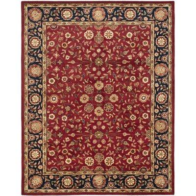 Cranmore Red/Black Floral Area Rug Rug Size: 96 x 136
