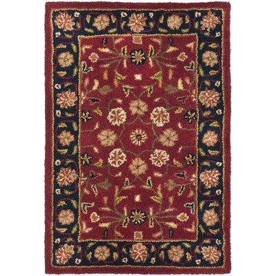 Cranmore Red/Black Floral Area Rug Rug Size: 3 x 5