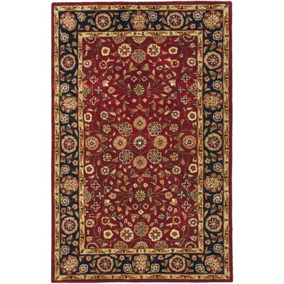 Cranmore Red/Black Floral Area Rug Rug Size: 5 x 8