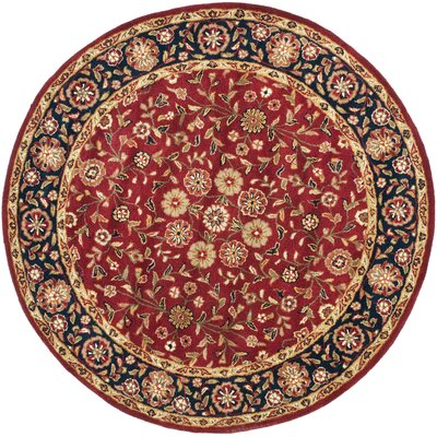 Cranmore Red/Black Floral Area Rug Rug Size: Round 6