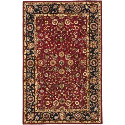 Cranmore Red/Black Floral Area Rug Rug Size: 4 x 6