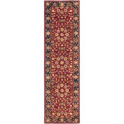 Cranmore Red/Black Floral Area Rug Rug Size: Runner 23 x 8