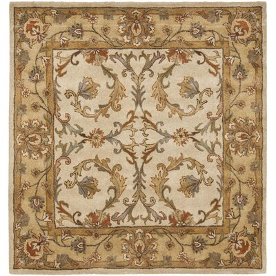 Cranmore Beige/Gold Area Rug Rug Size: Square 6