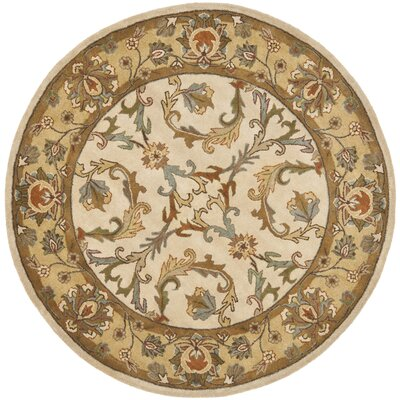 Cranmore Beige/Gold Area Rug Rug Size: Round 6