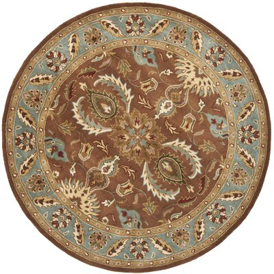 Cranmore Brown & Blue Area Rug Rug Size: Round 6