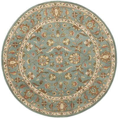 Cranmore Hand-Woven Wool Blue Area Rug Rug Size: Round 6