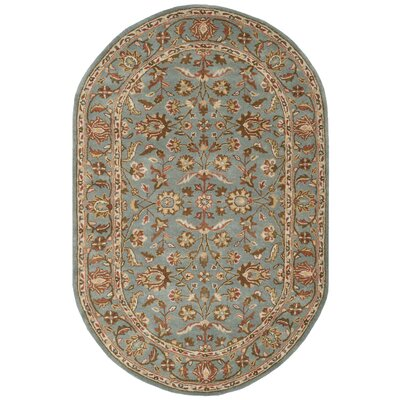 Cranmore Hand-Woven Wool Blue Area Rug Rug Size: Oval 76 x 96