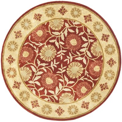 Cranmore Red/Beige Floral Area Rug Rug Size: Round 6