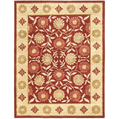 Cranmore Red/Beige Floral Area Rug Rug Size: 76 x 96