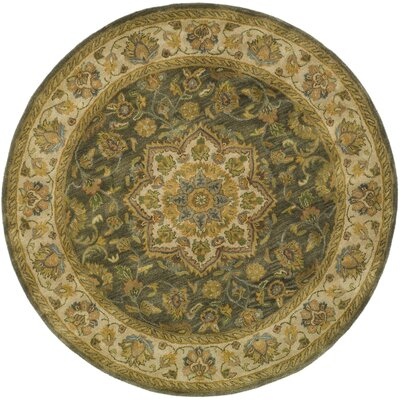 Cranmore Green/Taupe Area Rug Rug Size: Round 6