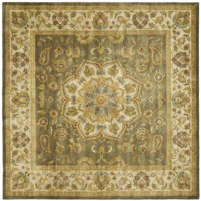 Cranmore Green/Taupe Area Rug Rug Size: Square 8