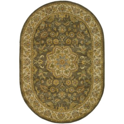 Cranmore Green/Taupe Area Rug Rug Size: Oval 46 x 66