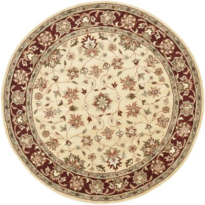Cranmore Ivory/Red Area Rug Rug Size: Round 6